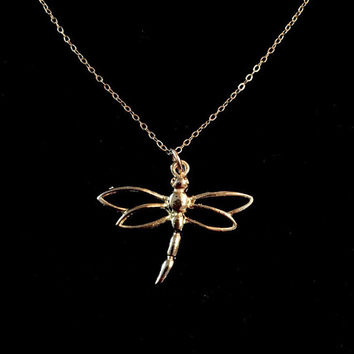 14K Gold Filled Open Wings Dragonfly Necklace by Tickle Bug Jewelry! Add on Initial Charms, pearls, or birthstones to make this personalized