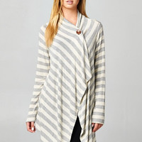 Button Cardigan - Grey and Oatmeal Stripe
