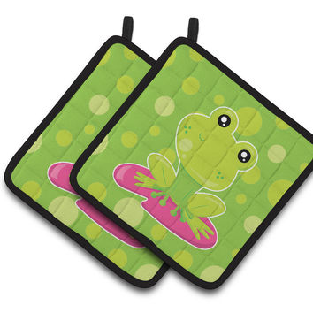 Frog on Lily Pad Green Polkadots Pair of Pot Holders BB7098PTHD