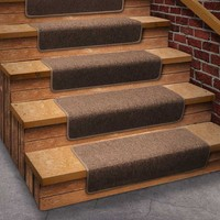 13 Attachable Basement Step Carpet Stair Treads - Brown