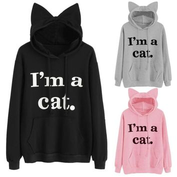 MUQGEW New Hot Womens Cat Long Sleeve Hoodie Sweatshirt Hooded Pullover Tops Blouse cheap clothes china blusa feminina