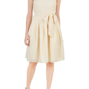 Pineapple print voile sash tie dress