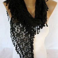 Black Lace scarf ,women scarves - gift Ideas For Her Women's Scarves-christmas gift-Fashion accessories