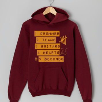 5 Seconds Of Summer Logo maroon hoodie for men and women