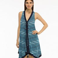 Coco Reef Wonderland Geo-Print Cover-Up Scarf Dress - Navy Captain