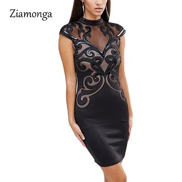 Mesh Patchwork Bodycon Dress Black Sequin Dresses Party Vintage Printed Bandage Dress