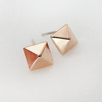 Rose gold pyramid stud earrings - square stud earrings