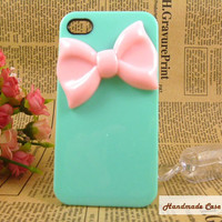 Unique pink bow iPhone case iPhone 4 covers, bow iphone case, designer iPhone 4 cases, cute iPhone 4 cases, cool iPhone case