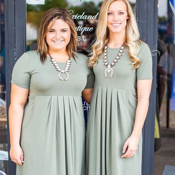 Light Olive Pleated Dress