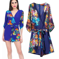 Women's Fashion Print V-neck Half-sleeve Shorts Jumpsuit [4919015236]
