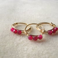 Pink Agate Stone Rings set of 3