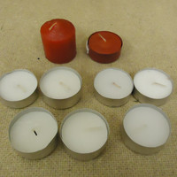 Standard Lot of 9 Tealight Candles White/Red Wax -- New