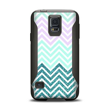 The Light Teal & Purple Sharp Glitter Print Chevron Samsung Galaxy S5 Otterbox Commuter Case Skin Set