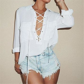 LMFHQ9 Spring Autumn Lace Up Sexy Women Blouse Fashion Lapel Long Sleeve Solid Chiffon Shirts Female Casual Loose Top Plus Size