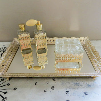 Vanity Set Vanity Tray Mirrored Tray Vanity Box Perfume Bottle Gold Filigree Tray Dresser Tray Dresser Mirror Wedding Gift Boudoir Tray