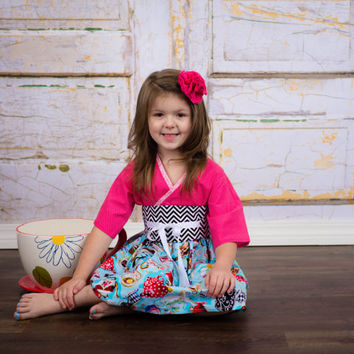 Little Girls Dress, Tea for Two Kimono Style in sizes 2T to 14