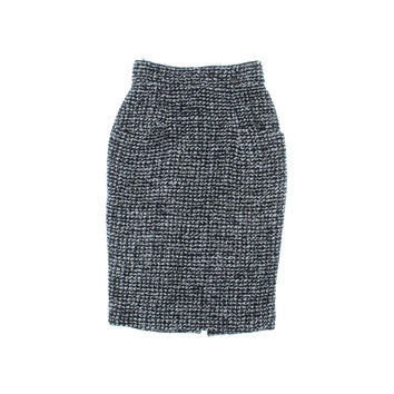 Chanel Womens Tweed Textured Pencil Skirt