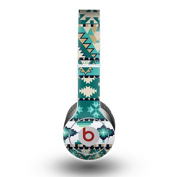 The Vector Teal & Green Aztec Pattern  Skin for the Beats by Dre Original Solo-Solo HD Headphones