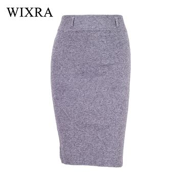 Wixra Warm and Charm Winter Autumn Midi Skirt Fashion Sexy Solid Color Skirts Womens Thick Elastic Pencil Skirt