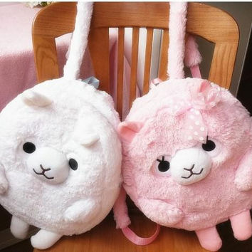 Kawaii Cartoon Fashion Alpaca Plush Backpack Children's Shoulder Bag Soft Doll Animal Stuffed Toy For Baby Kids Birthday Gifts