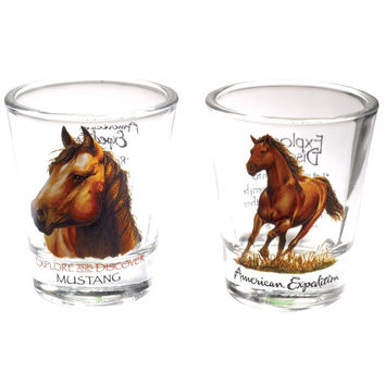 Two Piece American Mustang Shot Glass Set