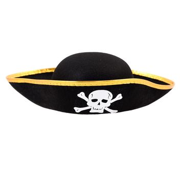 Unisex Dressing Up Black Skull Pattern Pirate Bucket Hat Cap