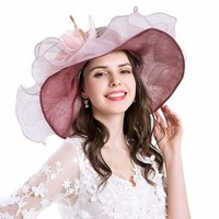 Purple Flower Kentucky Derby Wide Brim Hat