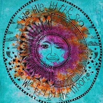 We Live By The Sun Feel By The Moon Blue Tie Dye Tapestry
