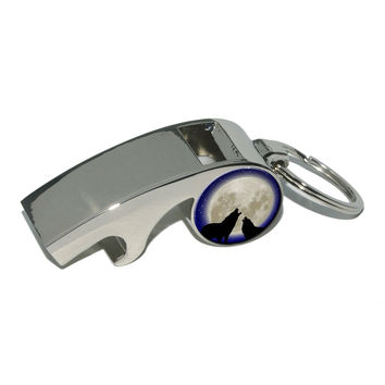 Howling At The Moon - Wolf Wolves Whistle Bottle Opener Keychain