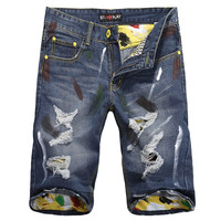 Summer Ripped Holes Denim Stylish Slim Pants [6541782467]