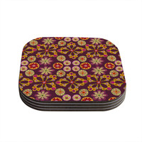 """Jane Smith """"Indian Jewelry Floral"""" Purple Gold Coasters (Set of 4)"""
