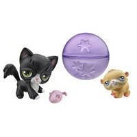 LITTLEST PET SHOP - Hamster & Longhair Cat with a Cute Rolling Hamster Ball