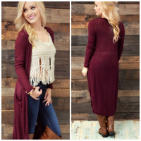 SZ LARGE Windy City Burgundy Maxi Cardigan