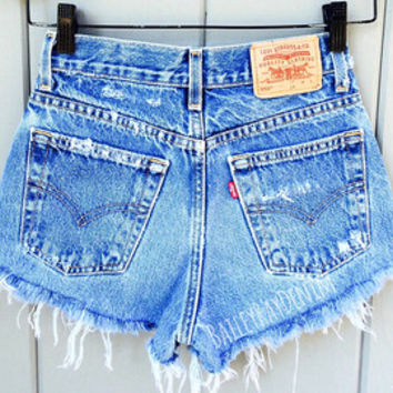 Levis High Waisted Shorts - Distressed Destroyed Cheeky Cutoffs - Sizes 0-20 Womens