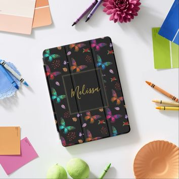 Elegant Colorful Butterflies on Black iPad Pro Cover