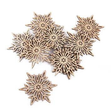 Wooden Christmas Snowflake Cutouts Embellishments Wood Ornament  For Christmas Tree 10 Pcs