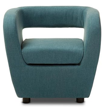 Baxton Studio Ramon Mid-century Modern Blue Fabric Upholstered Lounge Accent Chair Set of 1