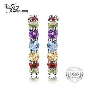 JewelryPalace 0.7ct Multicolor Natural Amethyst Citrine Garnet Peridot Blue Topaz Earrings Stud 925 Sterling Silver Fine Jewelry