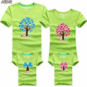ONETOW Mother's Day Gift Lovely Heart Tree Print Family Matching T Shirts Cute Father Son Mother Daugther Casual Cotton Tee S-4XL
