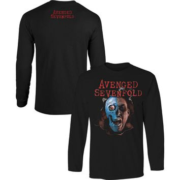 Avenged Sevenfold Men's  AVS Two Face Mens Longsleeve  Long Sleeve Black