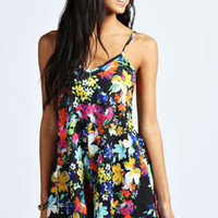 Sian Strappy Swing Bold Floral Playsuit