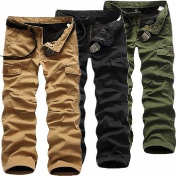 Mens Winter Cotton Fleece Lined Cargo Combat Work Pockets Long Pants Trousers