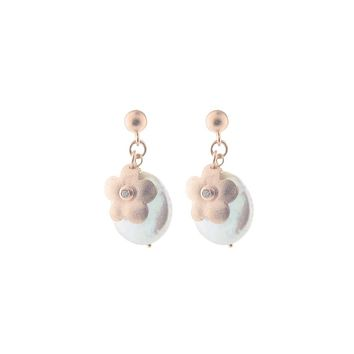 Coin pearl & Rose Gold Hammered Flower Earrings