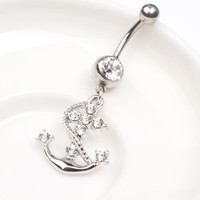 Charming Dangle Bar Crystal Navel Belly Ring With Pirate Ship Anchor Pendant Fashion Piercing Body Jewelry = 5987797313