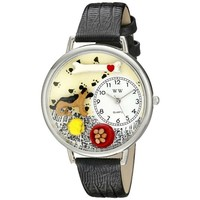 SheilaShrubs.com: Unisex German Shepherd Black Skin Leather Watch U-0130040 by Whimsical Watches: Watches