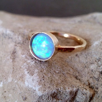 SALE! Blue Opal Ring, Opal Jewelry,8mm Round Ring ,Bezel Delicate ring,Gemstone Ring,Gold Ring