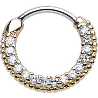 "16 Gauge 3/8"" Clear CZ Gold IP Ring of Brilliance Septum Clicker 