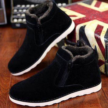 Autumn winter men warm snow boots Casual with short plush ankle boots Height Increasing rubber zip men shoes Z194
