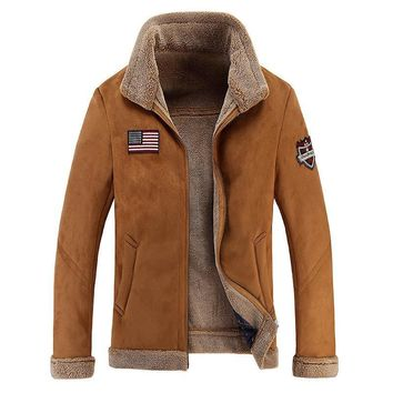 High Quality Men Sheep Suede Motorcycle Jacket