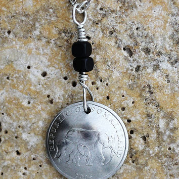 Elephant Domed Coin Necklace, Mother and Baby, Somaliland, 2005, Coin Pendant, 5 Shillings, Jewelry by Hendywood